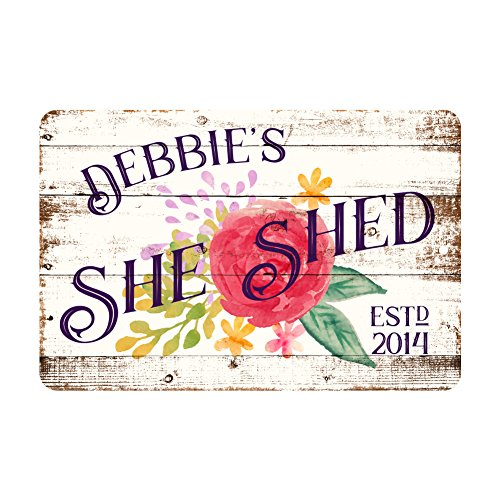 Pattern Pop Personalized She Shed Metal Sign -
