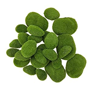 SKYCOOOOL 24 Pcs Artificial Moss Rocks Faux Moss Cover Stones Fuzzy Moss Balls for DIY Floral Design Fairy Gardens Vases Fillers Assorted Sizes 32