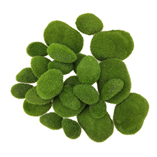 SKYCOOOOL 24 Pcs Artificial Moss Rocks Faux Moss Cover Stones Fuzzy Moss Balls for DIY Floral Design Fairy Gardens Vases Fillers Assorted Sizes -