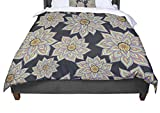 KESS InHouse Pom Graphic Design ''Floral Dance In The Dark'' King / Cal King Comforter, 104'' X 88''