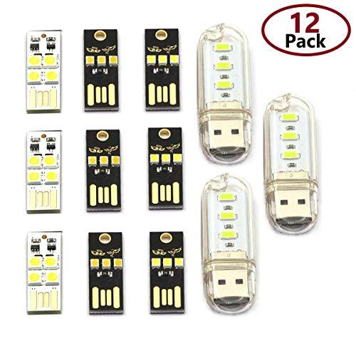 - DaFuRui 12 pcs 4 Kinds of USB Light Keychain Super Bright LED Mini USB Port Portable Night Light for Laptop Keyboard Light