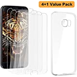 Galaxy S6 Screen Protector, (Super Value 4+1 Pack) Taken One Tempered Glass and Slim Clear Case for Samsung Galaxy S6 (NOT S6 Edge) [Ultra Clear Screen Protectors]