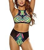 Kitzen Bikini Fashion Grid Stitching Retro Printed High Waist Split Swimsuit, l beautiful