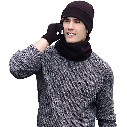 Red Cap Clothing (Winter Men Beanie Hat + Scarf + Touch Screen Gloves, 3 Pieces Winter Warm Clothing Set For Men)
