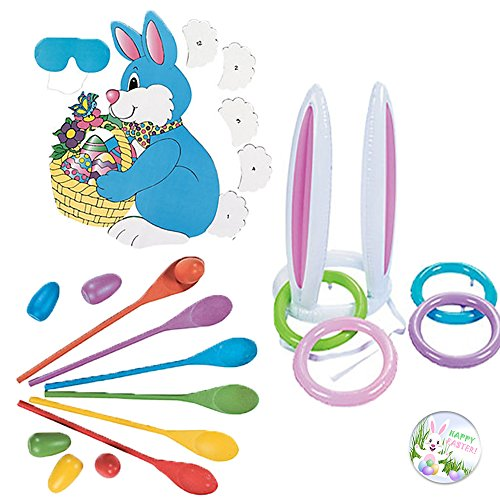 Easter Party Games Activities: 3 Awesome Easter Themed Party Games Activities include an Inflatable Bunny Ear Ring Toss, Pin the Tail on the Easter Bunny, Egg Spoon Toss Game