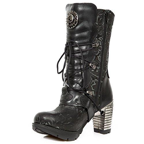 Noir Boucles Vintage Fleur Roche Noir Dames Des Avec Cuir Bottes Chaussures De Nouvelles En qPwTaa