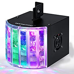 WOWTOU DJ Lights, DMX Sound Music Activated 18W RGB LED Strobe Effect Stage Lighting for Club Disco Party Show (Black)