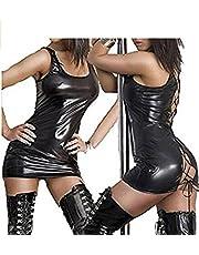 maimai88 Women Wet Look PVC Leather Black Lace up Fancy Mini Dress