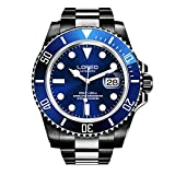 LOREO Mens GMT Full Black Stainless Steel Sapphire Glass Blue Rotating bezel Mens Automatic Watch