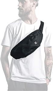 Fanny Packs for Women & Men Unisex Waist Bag Pack with Headphone Jack and Zipper Adjustable Strap Black Fanny Pack for Outdoors & Gym (fanny pack)