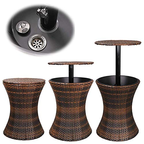 HomGarden Cool Bar Rattan Style Outdoor Patio Cooler Table with Ice Bucket Cocktail Coffee Cooler Table All in One for Party, Pool, Patio, Deck, Backyard by HomGarden (Image #1)