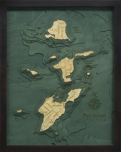 - WoodChart Bass Islands / Put-in-Bay, Ohio 3-D Nautical Wood Chart, Small, 16