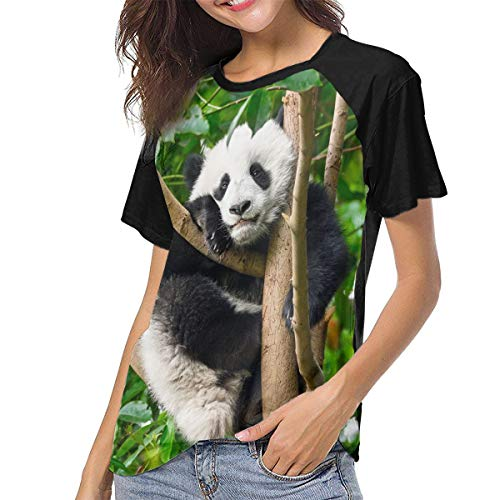 Giant Panda Bear in China Womens Raglan T-Shirts Woman's Jersey Shirt Baseball Tee Black
