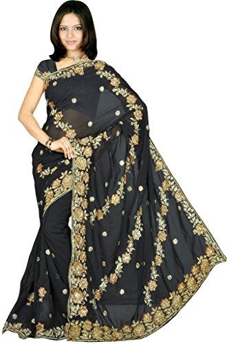 Womens-Wedding-Designer-Partywear-Sequins-Embroidery-Saree-Sari-Drape-fabric