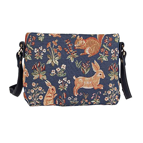 Signare femmes Tapisserie Mode épaule Sac à main à travers le corps Messenger Bag Floral Forest Blue