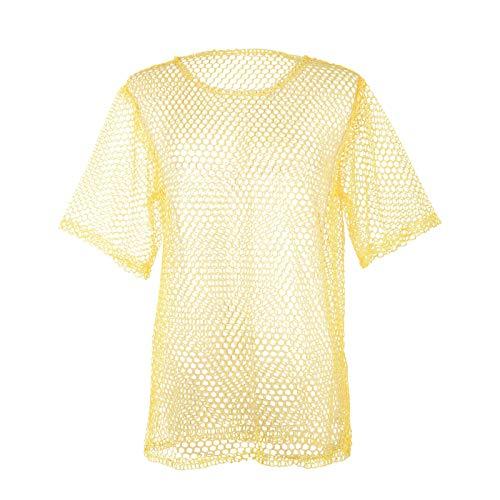 Unisex 80s Fishnet Shirt String Vest Pop