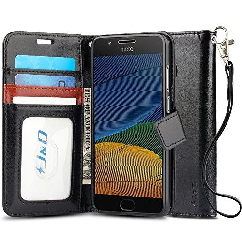 J&D Case Compatible for Moto G5 Case, [Wallet Stand] [Slim Fit] Heavy Duty Shock Resistant Flip Cover Wallet Case for Motorola Moto G5 (5.0) Wallet Case - [NOT for Moto G5 Plus 5.2] - Black