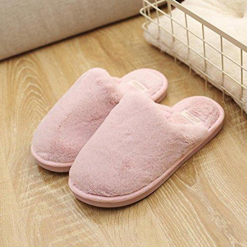 Oksale® Donne Inverno Coperta Solido Peluche Pantofole Calde Antiscivolo Morbide Scarpe A Casa Pantofole Rosa
