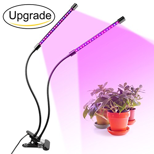 Newforshop Upgraded Dual-lamp LED Grow Light 18W Dimmable 2 Levels Plant Grow Lamp Lights Bulbs with Adjustable Flexible 360 Degree Gooseneck for Indoor Plants Hydroponics Greenhouse Garden Office by Newforshop
