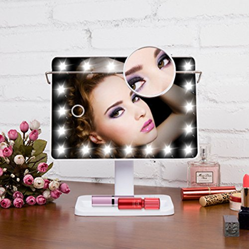 LED Makeup Mirror LuckyFine Rectangular LED Lighted Movable Vanity Mirror with 20 Bright LED Light (Best Luckyfine Mirrors)