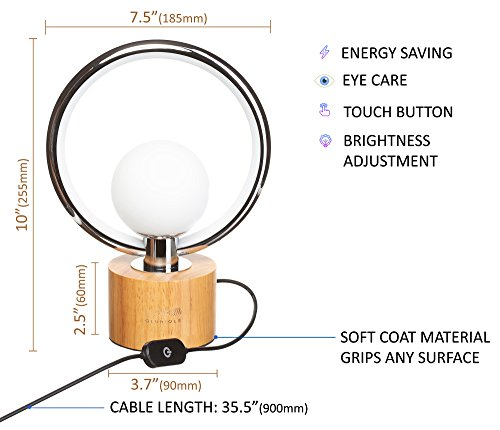 Modern LEDGloriole Desk Lamp with Unique Shade – Bedroom Lamps with Natural Wooden Base – Luxury Bedside Table Lamp – Well-Designed LED Light Perfect for Bedroom or Office by LEDGloriole (Image #1)