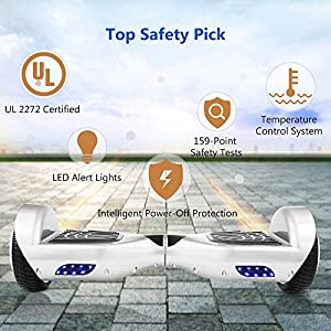 "COOCHEER Electric Hoverboard UL2272 Certified Two-wheel Self Balancing Scooter Smart Hover boards with LED Lights and 6.5"" Wheels(Best Gifts for Kids/Spring Outdoor Choices) (white)"