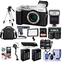 Panasonic Lumix DMC-GX8 Mirrorless Digital Camera Body Silver - Bundle with Camera Bag, 64GB SDXC Card, 2x Spare Battery, Tripod, Shotgun Mic, Video Light, Dual AC/DC Charger, Software Kit and More