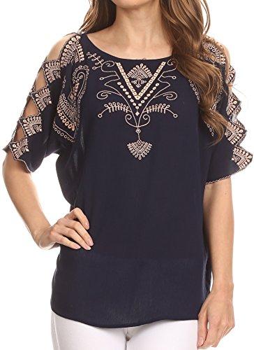 Sakkas TA14568 – Enya Batik Wide Scoop Neck Blouse Shirt Top Open Sleeves – Navy – 2X