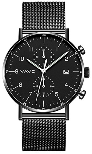 VAVC Men's Fashion Minimalist Casual Dress Black Milanese Mesh Band Waterproof Quartz Analog Wrist Watch with Black Dial