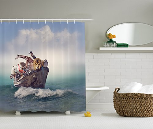 Ambesonne Noah's Ark Decor Collection, Collection of Animals and Birds in an Old Boat Adventure Waves Foggy Ocean Image, Polyester Fabric Bathroom Shower Curtain, 75 Inches Long, Ivory Grey White Teal