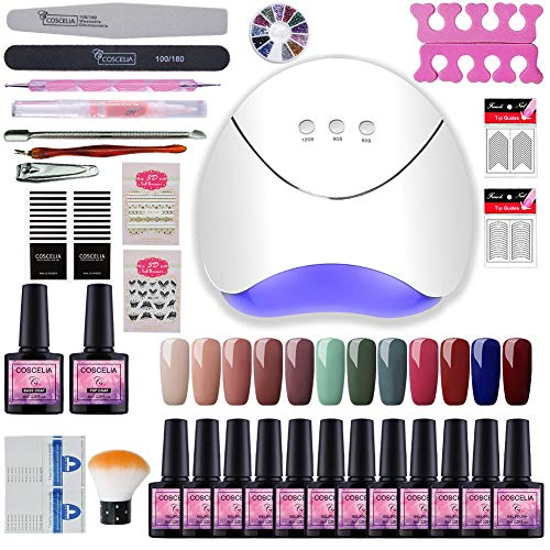 Vilamon Kit Uñas de Gel 12PCS Esmalte Semipermanente 36W LED Lámpara Capa Base Capa Superior Kit de Manicura