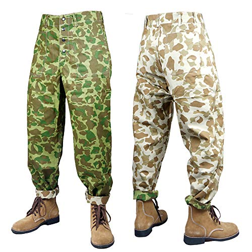 ZWJPW WWII US USMC Pacific Camouflage Field Trousers Pants Shirt and Trousers - Pacific Camo