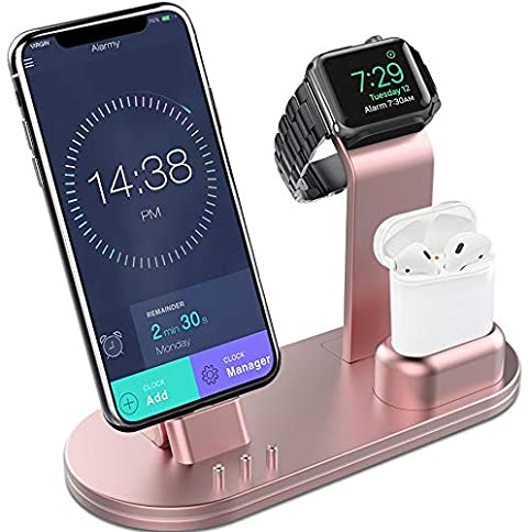 - 51OZR5EQVeL - OLEBR Charging Stand Aluminum Alloy Charging Docks Suitable for iWatch Series 4/3/2/1/ AirPods/iPhone Xs/iPhone Xs Max/iPhone XR/X/8/8Plus/7/7 Plus /6S /6S Plus/iPad-Rose Gold