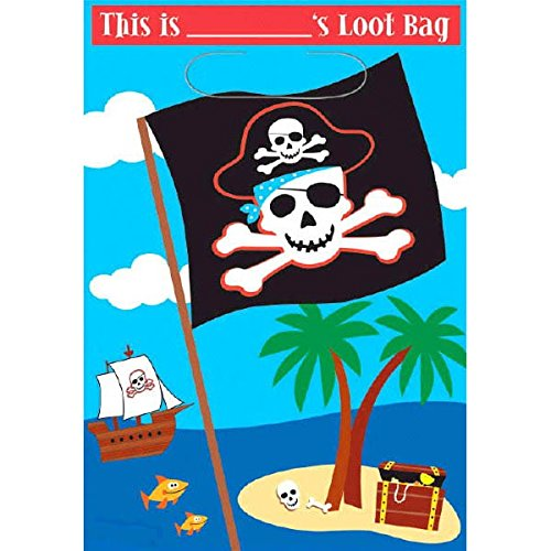 Cute Pirate Birthday Party Loot Bags, 9 x 6-1/2
