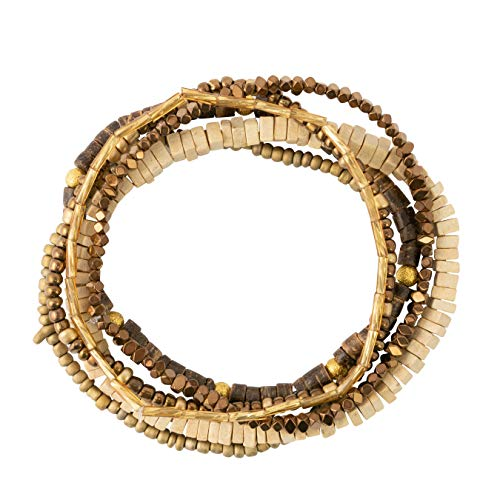 Bops Colorful, Multi-Layer Stretch Bracelet Set (6pc) for Women and Girls (Brown) (Stretch Brown Bracelet Beaded)