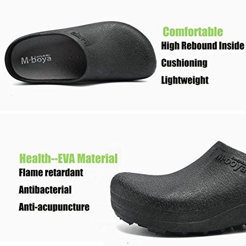 3be9a0004681 EASTSURE Slip Resistant Shoes for Women Men Black Non Slip Kitchen Work  Shoes for Nurse Chef