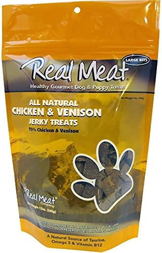 THE REAL MEAT COMPANY 828004 Dog Jerky Chicken Venison Treat, 12-Ounce