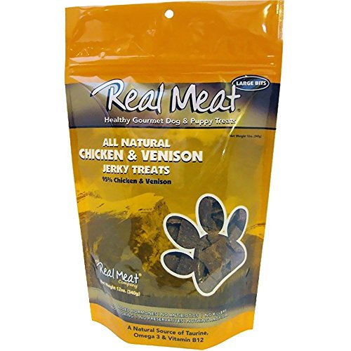 (THE REAL MEAT COMPANY 828004 Dog Jerky Chicken/Venison Treat, 12-Ounce)