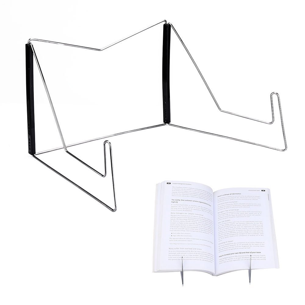Book Stands,Fold-n-Stow Metal Bookstand,Music Book Easel Display Holder,Adjustable Reading Stand,Small Book Rest for Kitchen Counertops,Bookrest for Hardcover Textbook,Ipad,Document,Cookbook,Recipe by AUS (Image #1)