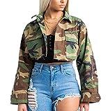 Sheng Xi Womens Short Mini Camo Military? Sexy Pocket Wrap Coat Bomber Jacket Pattern1 XL