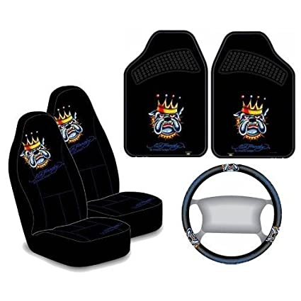 f63f7d53483c Amazon.com  Ed Hardy Bulldog 5pc Auto Accessories Interior Combo Kit   Automotive