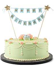 LXZS-BH Mini Happy Birthday Cake Topper Banner - Party Cake Decoration Supplies (Blue)