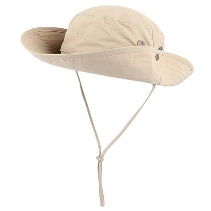 Anyoo Aire Libre Sombrero Boonie Transpirable con Amplias Ala de Sombrero  Verano Gorra UV Protección Pesca 24e26f7f09d