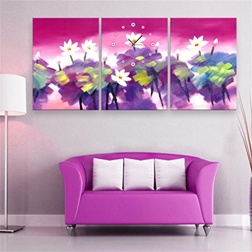 Royal- Modern Style canvas painting Ink color lotus flowers Wall Clock in Canvas 3pcs
