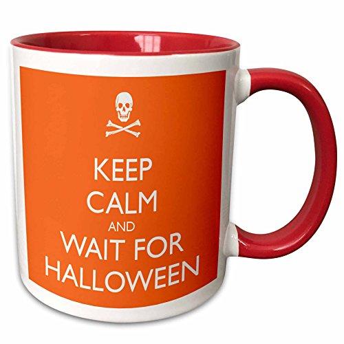 3dRose EvaDane - Funny Quotes - Keep calm and wait for Halloween, Orange - 15oz Two-Tone Red Mug (mug_161169_10) -