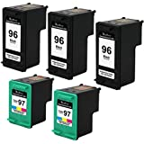 Valuetoner Remanufactured Ink Cartridge Replacement For Hewlett Packard HP 96 & HP 97 C8767WN C9363WN (3 Black, 2 Tri-Color) 5 Pack Compatible With Deskjet 5740 5743 5745 5748 5940 6520 6540 6548 6620 6830 6840 6940 6980 6988 9800 Officejet 7210 7310 7408 7410 Photosmart 2605 2608 2610 2613 2710 8030 8038 8049 8050 8053 8150 8400 8450 8750 8753 8758 B8300 B8330 B8338 B8350 B8353 Printer