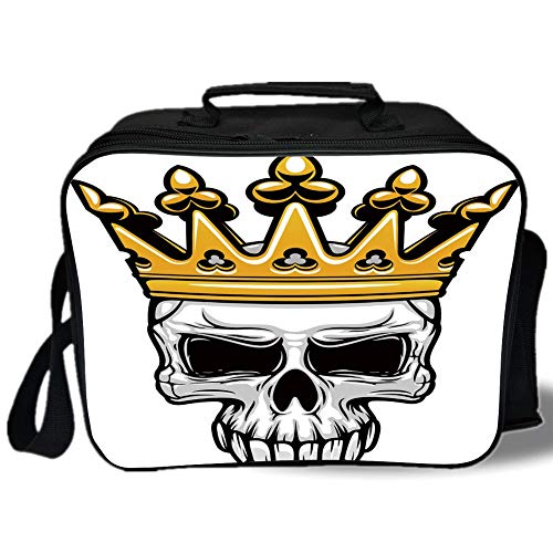 King 3D Print Insulated Lunch Bag,Hand Drawn Crowned Skull Cranium with Coronet Tiara Halloween Themed Image Decorative,for Work/School/Picnic,Golden and Light Grey