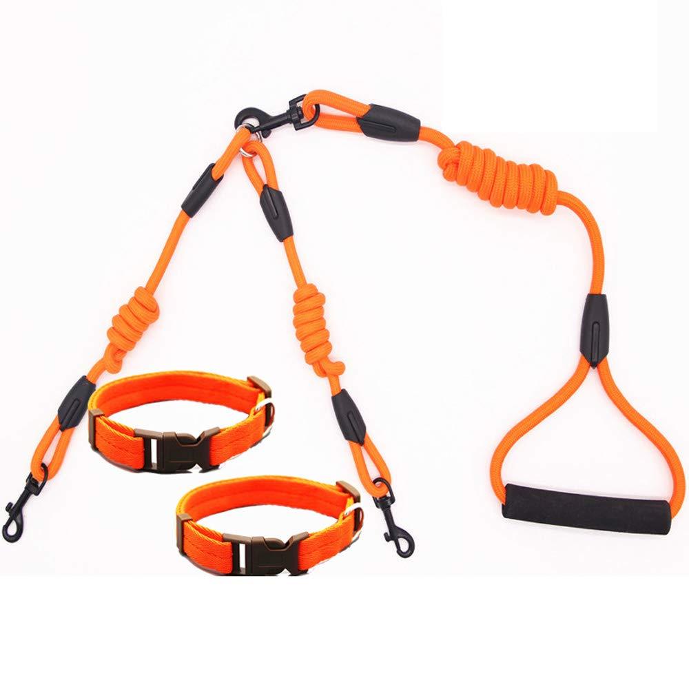 orange(2) MediumDouble Elastic Dog Leashes, Double H ead Adjustable, Pet Traction Ropefor Walking Jogging Training