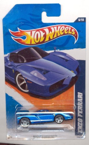 Hot Wheels 2011-116/244 Nightburnerz 6/10 BLUE Enzo Ferrari 1:64 Scale
