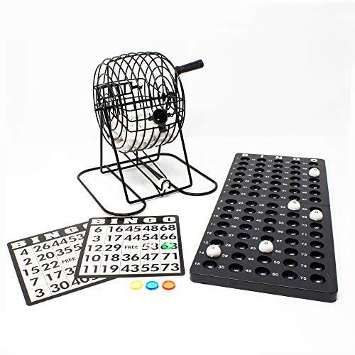 Classic Bingo Set - 6 Inch metal rotary cage - 75 balls - 18 reusable bingo cards - 150 colorful plastic token - Marker Card